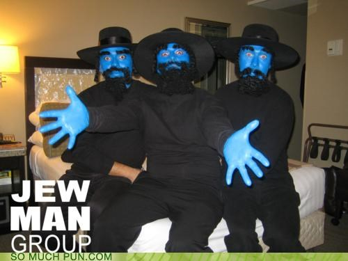 avant garde,blue,Blue Man Group,curls,group,hasidic,hats,jew,literalism,men,Painted,performance,performing,rhyme,torah