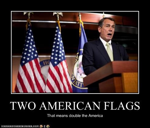 TWO AMERICAN FLAGS That means double the America