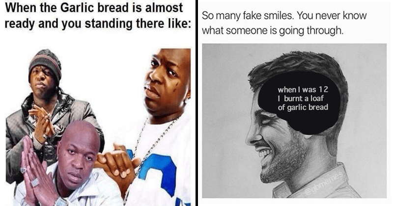 Collection of funny garlic bread memes, dank memes, food, depression.