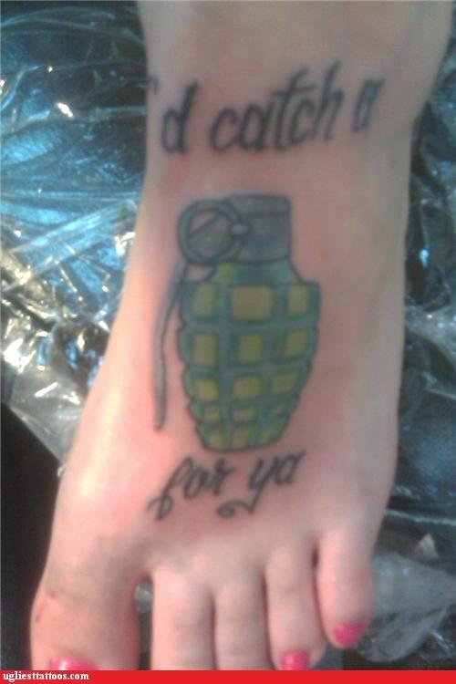 feet tattoos funny grenades - 4629474304