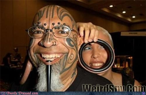 ears gauges piercing plugs scary tattoo - 4630358016