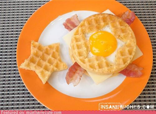 bacon,breakfast,cheese,eggs,epicute,sandwich,star,waffles