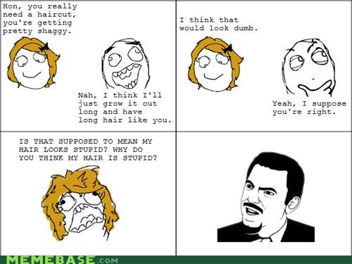 dumb girls hair long Rage Comics stupid - 4632093184