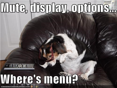 beagle button cant-find confused display menu mute options remote searching where