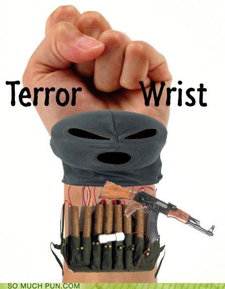 double meaning,homophones,neologism,similar sounding,terror,terrorist,wrist