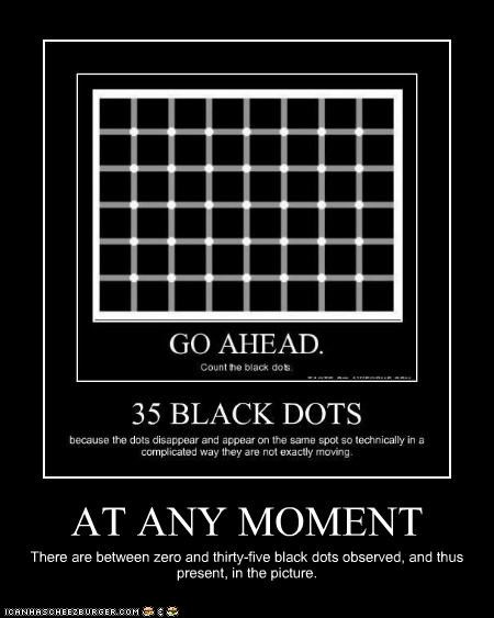 AT ANY MOMENT There are between zero and thirty-five black dots observed, and thus present, in the picture.