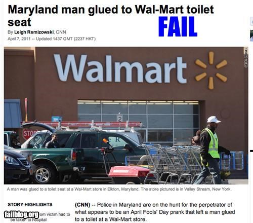 bathroom failboat glue prank Probably bad News toilet Walmart - 4633527040