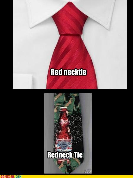 necktie red redneck spacing tie