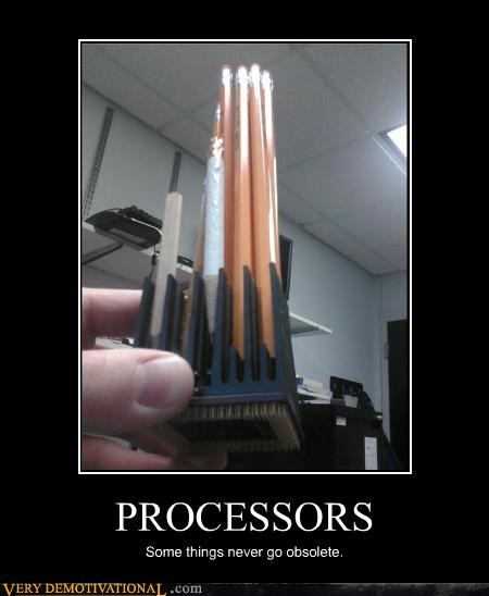 computer,obsolete,pencils,processors