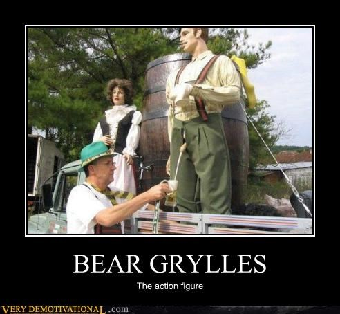 action figure,bear grylls,beer,pee