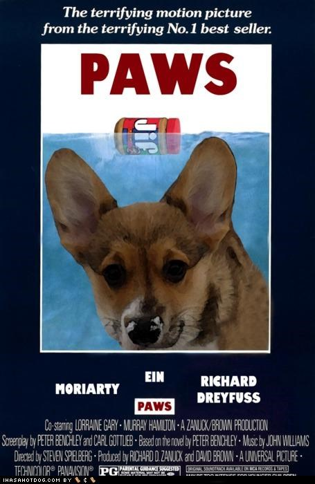 corgi,jaws,Movie,paws,peanut butter,poster