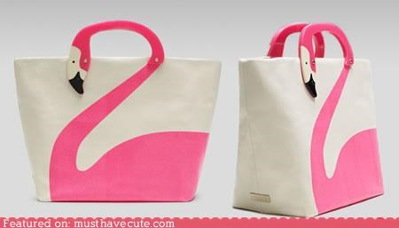 bag flamingo nadles neck pink print tote - 4634864128
