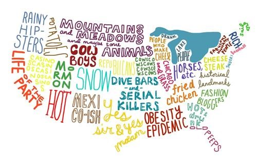 art geographic Maps oh the United States of America stereotypes - 4634961920