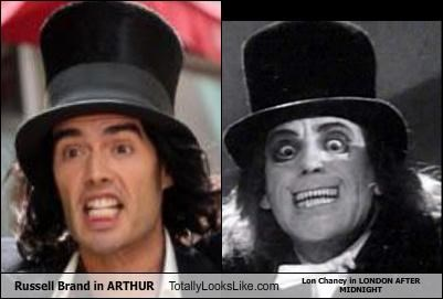 Russell Brand in ARTHUR Totally Looks Like Lon Chaney in LONDON AFTER MIDNIGHT