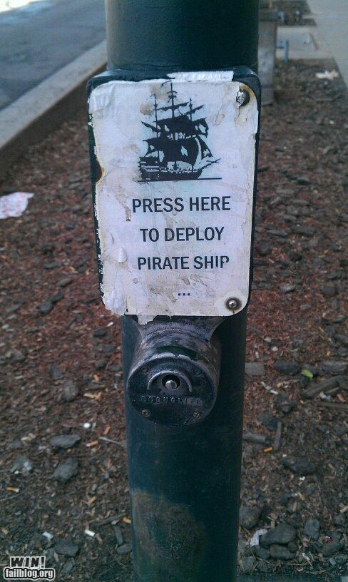 button hacked pirates road sign