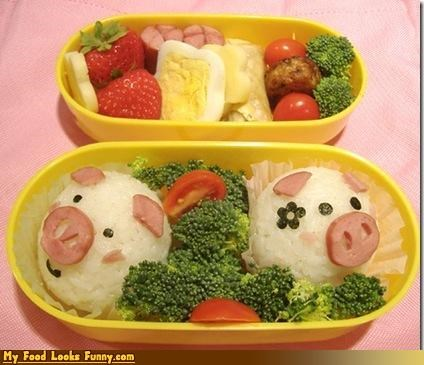 bento eggs epicute ham pig rice veggies - 4635941632