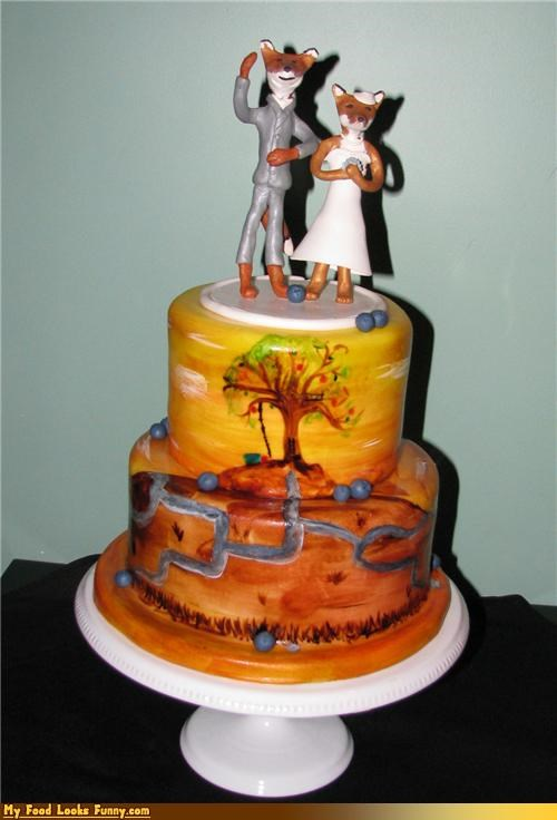 cake,epicute,Fantastic Mr Fox,fondant,grooms-cake,Painted,sunset