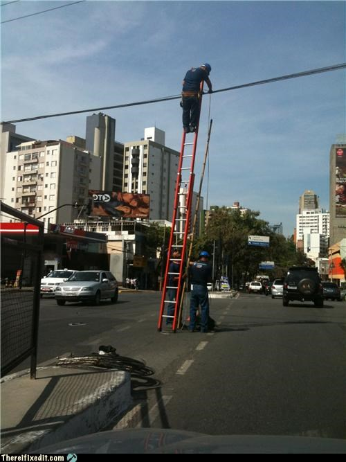 dangerous,ladder,Professional At Work,safety first,tax dollars at work