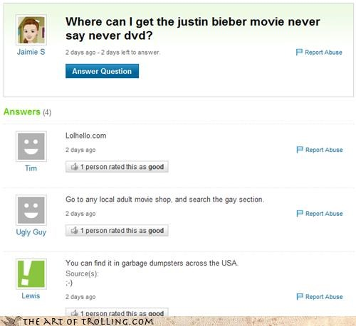 FRIDAY garbage gay justin bieber never say never Yahoo Answer Fails - 4636850944