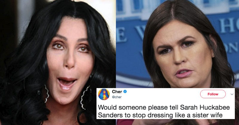 Cher gets in a ridiculous Twitter beef after making fun of Sarah Sanders's fashion sense.