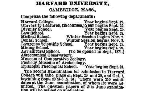 Entrance Exam,From The Archives,harvard,Veritas