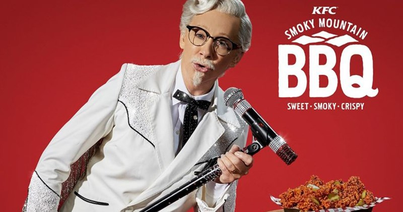 Funny advertisement from kfc featuring Reba McEntire as the colonel, fried chicken, first female colonel sanders, Kentucky fried chicken.