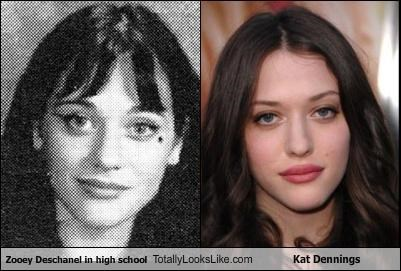 actresses,high school,Kat Dennings,yearbook,zooey deschanel