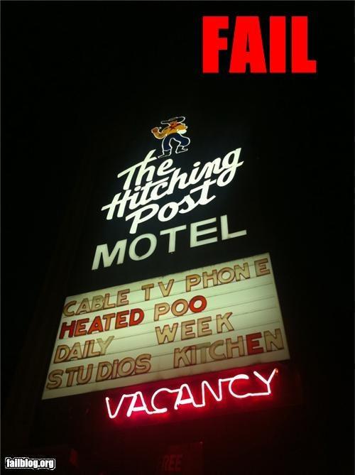 failboat motel poo signs spelling