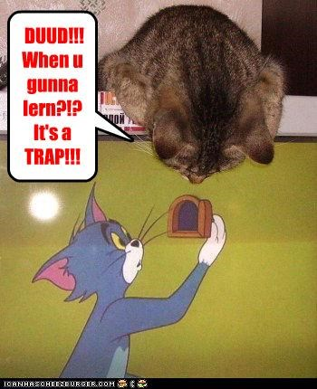 caption,captioned,cat,dramatic irony,dude,question,suspense,Tom and Jerry,trap,warning,when