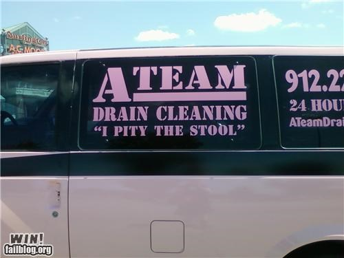 awesome at work,clever,movie reference,mr t,plumbing,van