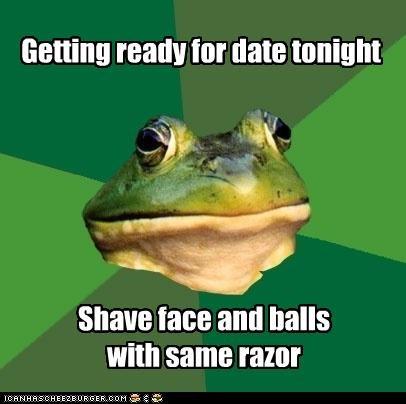 balls,foul bachelor frog,saving,shaving,time