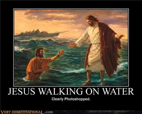 jesus photoshopped walking on water - 4643576576