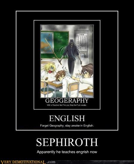 anime engrish idiots sephiroth teach - 4643581696