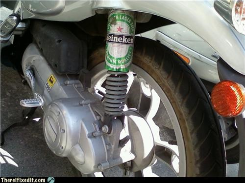 beer beer can dangerous holding it up motorcycle shocks