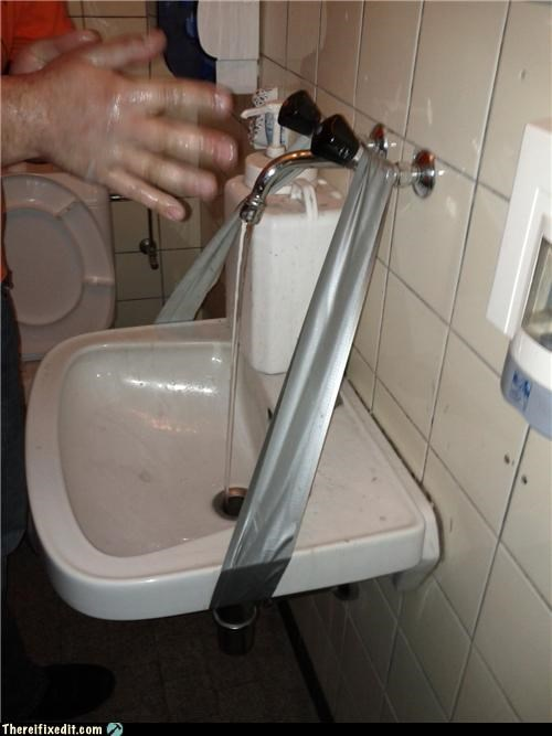 duct tape,faucet,holding it up,plumbing,sink