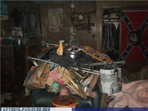 confederate flag,drunk,passed out,stacking,weird,wtf