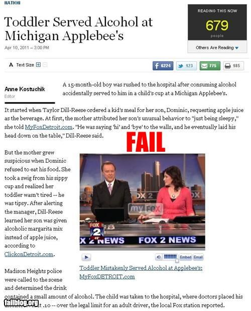 alcohol applebees drunk baby failboat g rated Probably bad News restaurant - 4644443136