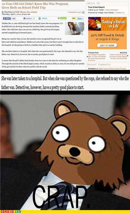 bad idea,news,pedo bear,under-aged girl