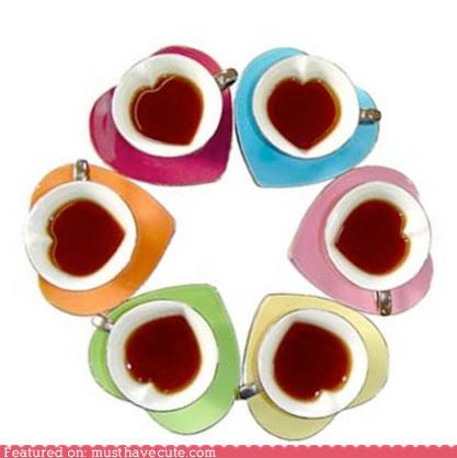 coffee cups hearts pastels saucers tableware tea teacups