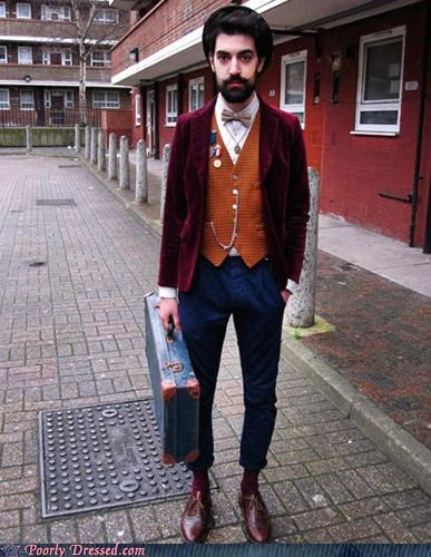 awesome beard hipster hobo mustache suitcase vest - 4644829952