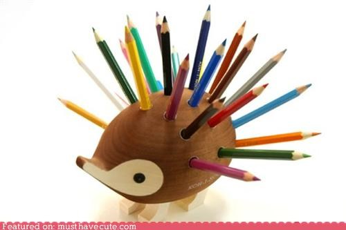 colored pencils desk hedgehog holder Office pencils stand wood - 4645044736