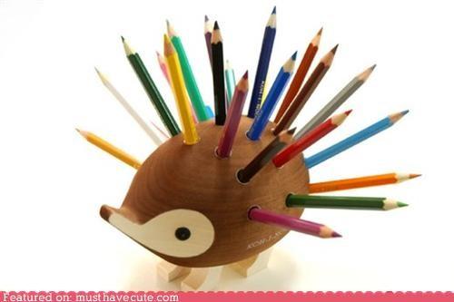 desk hedgehog holder Office pencils stand wood - 4645044736