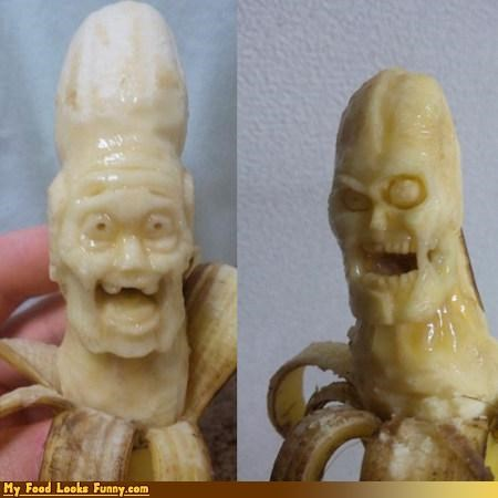 bananas,carving,scary,sculpture,slimy