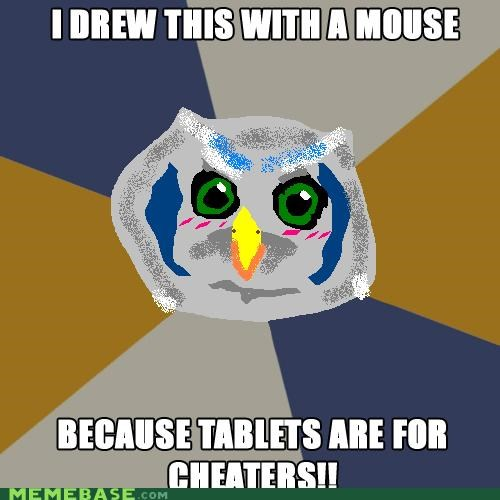 Art Student Owl,cheaters,mouse,paint,tablets