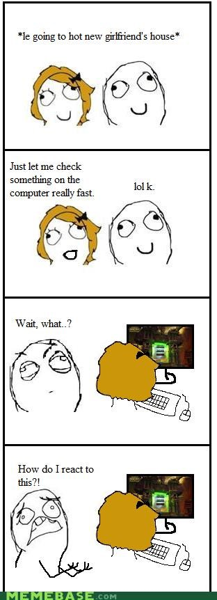 computer,girlfriend,nerdy,Rage Comics,reaction,world of warcraft