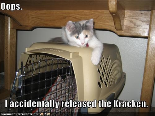 accident accidentally caption captioned cat container holder kitten kraken oops Pirates of the Caribbean released - 4645686784