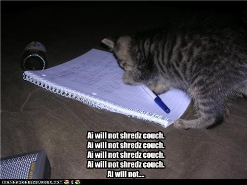 caption captioned cat couch kitten not notebook pen punishment repeating shred the simpsons will writing - 4645885952