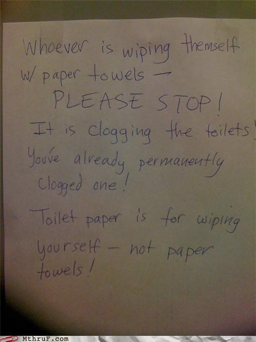 bathroom,clog,note,sign,toilet paper,weird,wipe