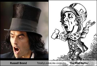 actors,alice in wonderland,comedians,drawings,Russell Brand
