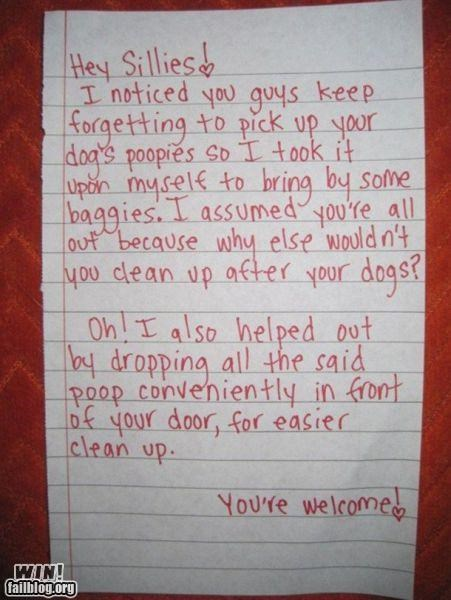 dogs,neighbors,notes,pets,poop